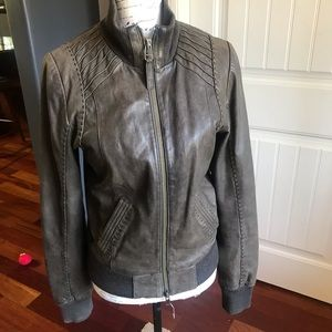 Mackage aritzia brown leather stitched coat medium